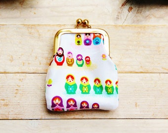 Coin purse mini kiss lock tiny wallet pouch clip frame change purse Matryoshka Russian doll white pink green yellow kids kawaii gift