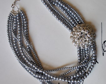 Charcoal Pearls with Brooch Statement Necklace-made to order