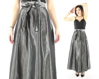 Vintage 80s Maxi Skirt Slate Metallic Full High Waisted 1980s Small S Big Bow Dark Gray