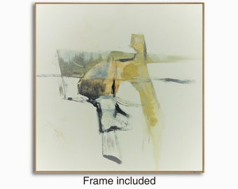 Framed Abstract modern contemporary painting, 20x20 inches