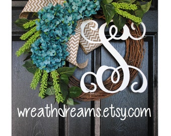 "18""-32"" Blue Hydrangea Wreath. Year Round Wreath. Spring Wreath. Summer Wreath. Door Wreath. Grapevine Wreath."