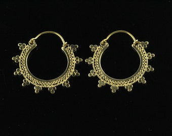 Ornate Filigree Hoop Earrings,  Lightweight Earrings, Nickel Free Brass SSA9