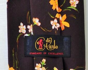 """Vintage, 1970's, Brown/Orange/White, Floral Print, 3 7/8"""" Wide,  Necktie, de Carlo"""