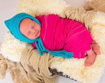 Newborn Girl Hat Newborn Baby Girl Hat Turquoise Blue Baby Hat Baby Girl Clothes Pixie Baby Hat Pixie Elf Baby Hat Whimsical Photo Prop