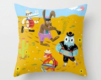 "The Animal Jamboree -  Throw Pillow / Cushion Cover (16"" x 16"") iOTA iLLUSTRATION"