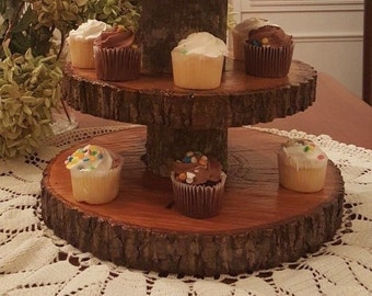 Rustic Wedding 3 Tier Natural Log Minature Cupcake Stand