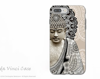 Paisley Buddha iPhone 7 PLUS - 8 PLUS Case - Tan Dual Layer Protective Apple iPhone 7 Plus - 8 Plus Cover - Meditation Mehndi by Fusion Idol
