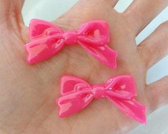 7 pcs - Hot Pink Ribbon Bow Resin Cabochons - 47mm - Fuchsia - Pinup - Pretty Bow - Decoden -DIY