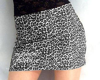 High waisted leopard print spandex mini skirt black white lace top