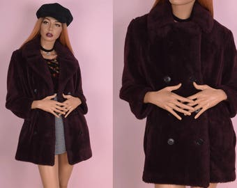 60s Burgundy Faux Fur Coat/ Small/ 1960s/ Jacket/ Double Breasted/ Peacoat