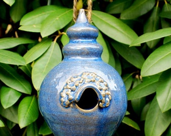 Blue Hanging Bird House Stoneware Clay