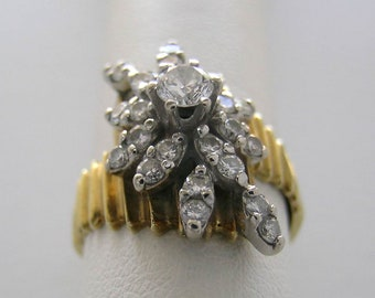 14K Yellow Gold Diamond Snowflake Cigar Band Circa 1970