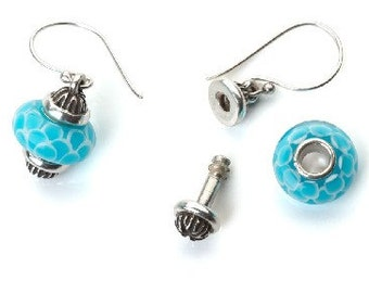 Earrings for Beads 'Elizabeth' by WHIMSY™ Interchangeable Sterling Silver fits many Trollbeads, Chamilia, Pandora, more