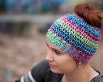 Crochet Messy Bun Ponytail Hat in Blended Rainbow - Messy Bun Beanie - Crochet Hat - Gift under 30 - Gift for Him - Gift for Her