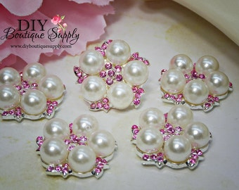 Light Pink Rhinestone Buttons Pearl buttons crystal Buttons Flatback Embellishment Hair bow flower centers 24mm 891042