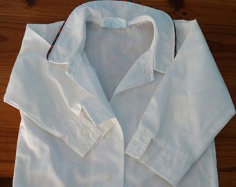 Vintage Long Sleeve White Dress Shirt with Plaid Trim Size 9M