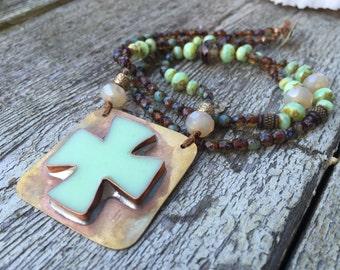 Mint Cross pendant beaded necklace