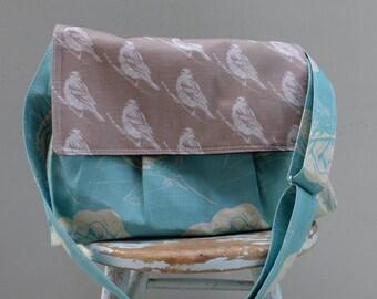 Robins Egg Blue Bird and Camelia Camera Bag LARGE Purse - 5 Pockets