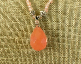 Coral Colored Hand Beaded Briolette Necklace, Pink Stone Beaded Necklace, 1990's Beaded Jewelry, Stone Briolette Pendant