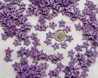 "50 Purple Buttons, Lavender Star Buttons, 2 hole sew through, 1/2 "" (AA 161)"