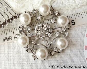 Pearl brooch, rhinestone brooch, large pearl brooch