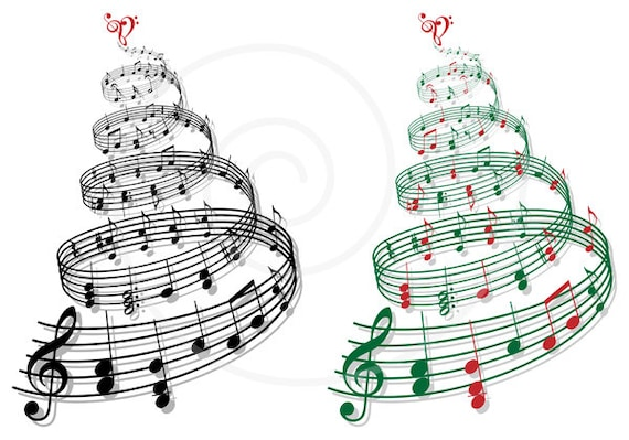 christmas tree with music notes printable christmas card rh etsy com christmas music clipart images christmas musical clip art