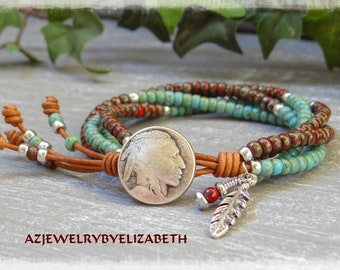 Seed Bead Leather Wrap Bracelet Native American Style/ Beaded Leather Wrap/ Southwestern Jewelry/ Seed Bead Bracelet/ Leather Bracelet.