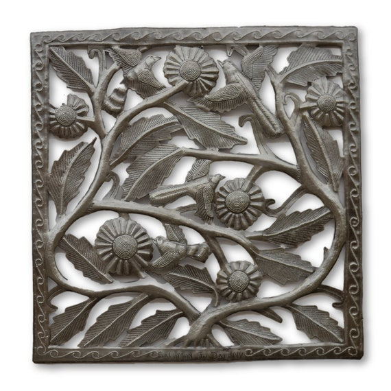 Framed Flowers & Birds Handcrafted in Haiti From Recycled Metals, Limited Edition 17.5x17.5