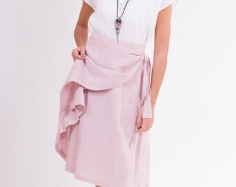 LINEN SKIRT Wrap-inspired silhouette,  apron-type, with a belt and pocket at the sides skirt made from washed-softened pure linen fabrics