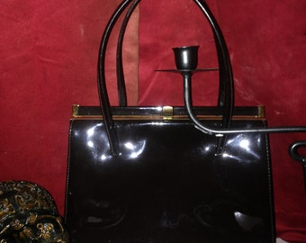 Vtg 50's PIN-UP GOTH Retro brown patent leather handbag