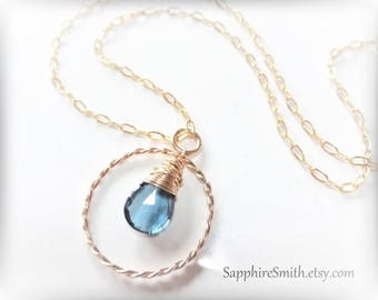 40% off LONDON LUXE Luxurious London Blue Topaz Briolette, 14kt Gold Filled Necklace, December birthstone