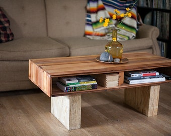 modern reclaimed wood coffee table