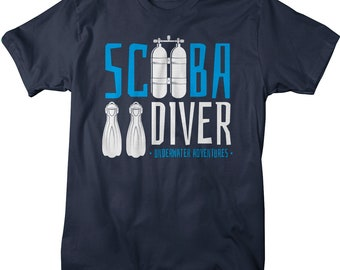 Men's Scuba Diver T-Shirt Diving Tee Underwater Adventures Shirt Adventurer