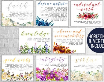 Horizontal and Vertical // Young Women Values Printables // YW Values // YW Printables // LDS Printables // Young Women Handouts // 8 x 10