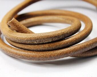 8mm Diameter Dark Natural Tan Genuine Leather Cords, 8mm Round Real Cowhide Leather 1 Yard RLG8M-222