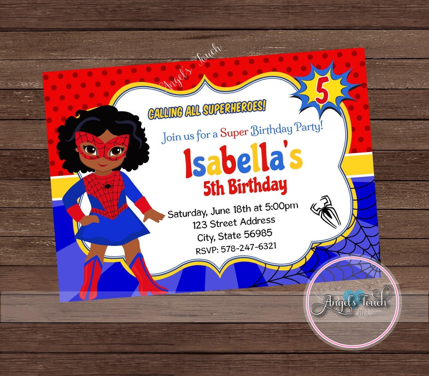 Superhero Spider Girl Party Invitation African American