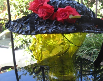 Helen Haig 1940s black broad rim hat with bright red flowers