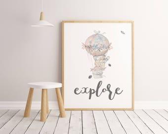 Nursery Decor, Explore, Wall Art Print, Air Balloon Print, Nursery Wall Art, Inspirational Print, Balloon Print, Kids Room Decor