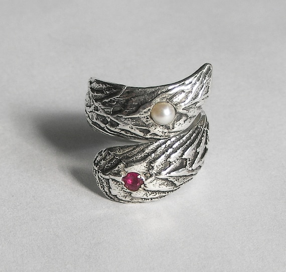 Ruby & Pearl Silver Cuttlefish Cast Adjustable Wrap Ring