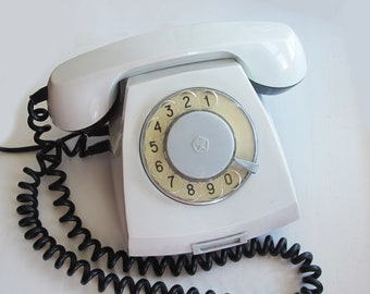 Retro Phone, White Rotary Telephone, Vintage Rotary Phone, Soviet Vintage Phone, Antique Home Phone, Made in USSR