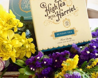 Sunday Tea blend - boutique loose leaf tea in hand-designed, vintage style packaging.