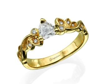 Unique Engagement Ring, Yellow Gold Ring, Leaves Ring, Triangle ring, Art Deco Ring, Diamond Ring, Vintage Ring, Antique Ring, Leaf Ring