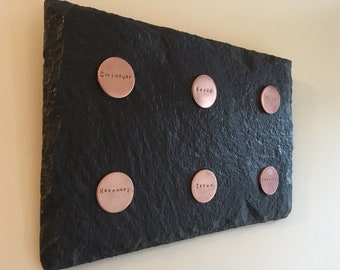 Handmade Hanging slate wall art with hand stamped copper disks. Looks great in the kitchen and can be personalised.