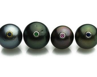 Tahitian Jewel Pearls - Loose Tahitian Pearls - Inlayed with Gems on 14k gold bezel-Free Holes (Per request) -Tahiti Pearl - Pearls (103)