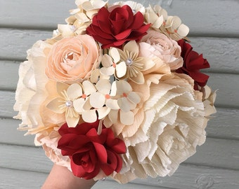 Crepe paper flower bouquet, bridal, wedding flowers, nosegay, bridesmaids, peonies, ranunculus, unique fleurs, hydrangea, anniversary gift