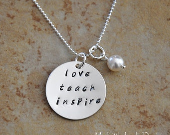 Teacher Appreciation Hand Stamped Sterling Silver Necklace