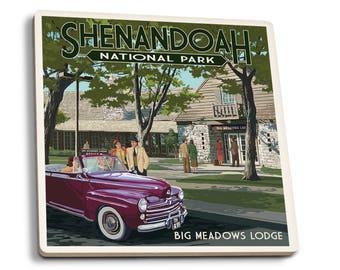 Shenandoah Park, VA Big Meadows Lodge - LP Artwork (Set of 4 Ceramic Coasters)