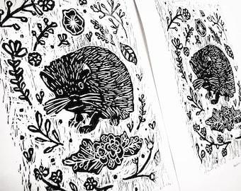 Limited Edition of 25,  Linoleum Print * Hedgehog *