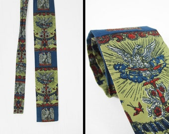 Vintage Rooster Bicentannial Necktie Federal Eagle Square End Sun Fabrics Neckwear