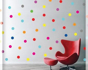 "Polka dot wall decal - Rainbow Polka wall decals - Polka dot decals  - Mixed colors Dots - 1,5"" - 70 Dots - Nursery Wall decal"